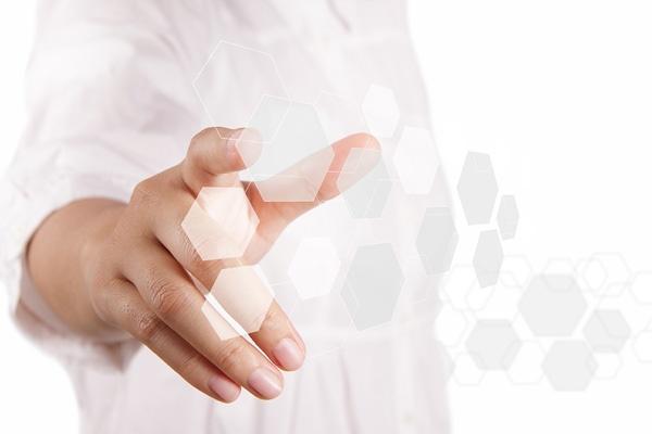 Hand touching honeycomb hologram design