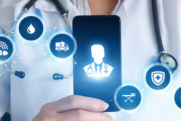 Doctor holding phone with an icon of a doctor on it